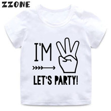 Im 1 2 3 4 5 Lets Party Print Kids Funny T Shirt Baby Birthday Clothes Boys And Girls Summer White ShirtHKP5214