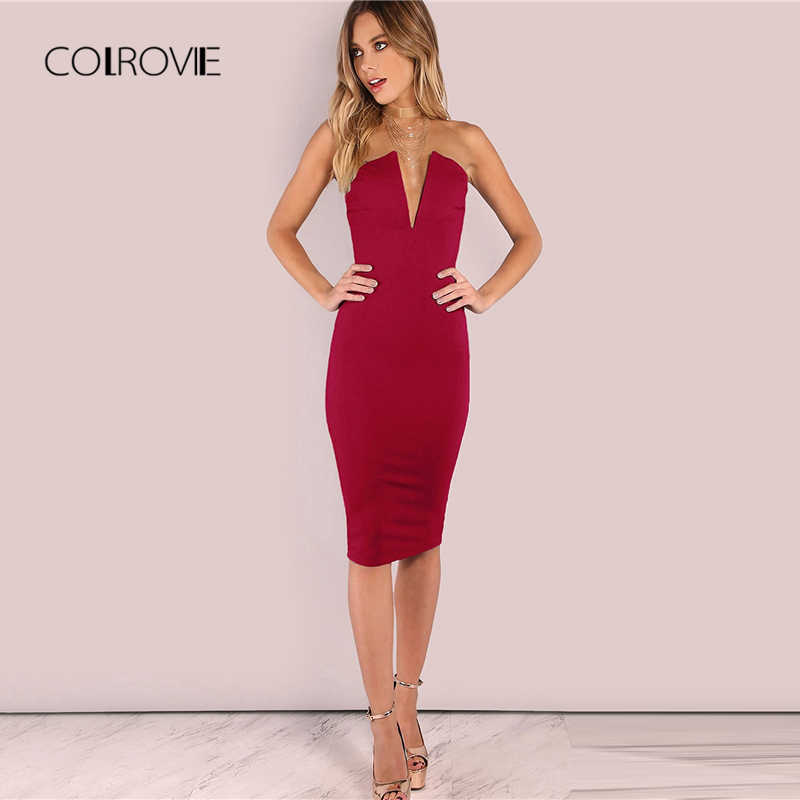 8e720a16acf COLROVIE Boundary Backless Deep V Strapless Sexy Bodycon Dress Women 2018  Autumn Backless Party Dress Night
