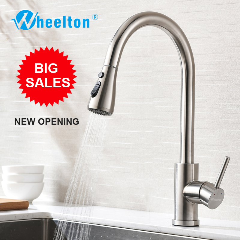 Wheelton Kitchen Faucet Sprayer Pull Down Stainless Steel 360 Swivel Tap Single Handle Goods For Kitchen Mixer-Silver, Freeship free shipping high quality chrome brass kitchen faucet single handle sink mixer tap pull put sprayer swivel spout faucet