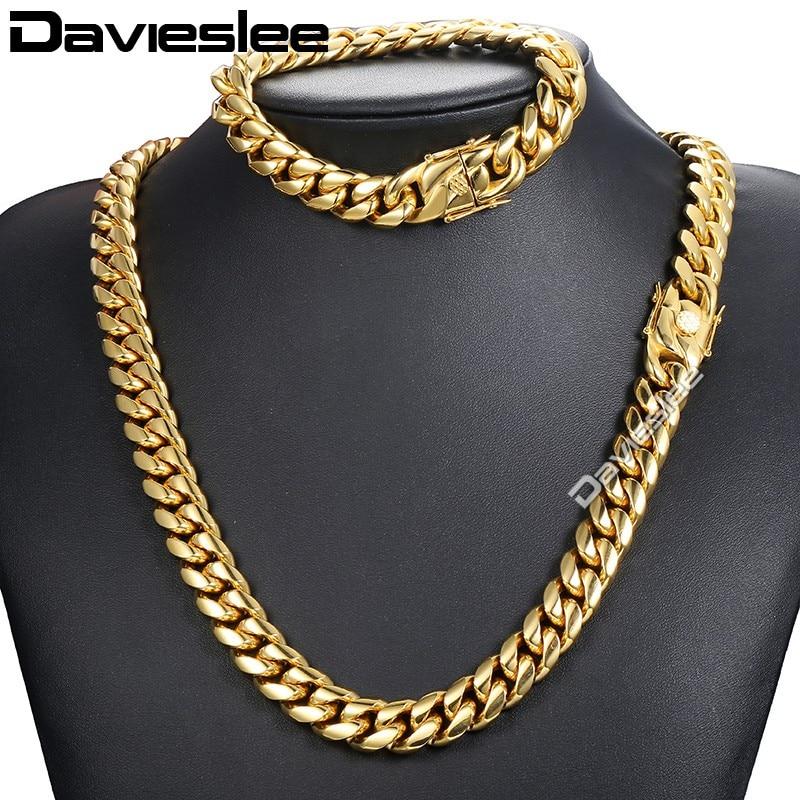 Davieslee Miami gourmette lien cubain femmes hommes bijoux ensemble 316L acier inoxydable or argent ton 8/12/14mm DHSM01