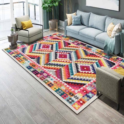 Else Turkish Ethnic Yellow Red Orange Green 3d Print Non Slip Microfiber Living Room Decorative Modern Washable Area Rug Mat