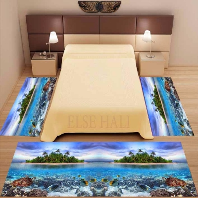 Else 3 Piece Tropical Under Sea Fishes Island 3d Print Non Slip Microfiber Washable Decor Bedroom Area Rug Carpet Set