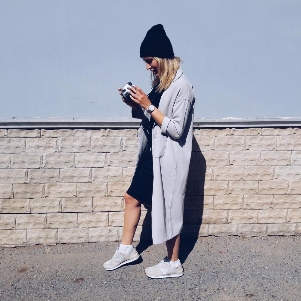 Autumn Long Woman batwing sleeve Oversize Coat Knee Length fashion black casual trench outwear long sleeve work coat with pocket
