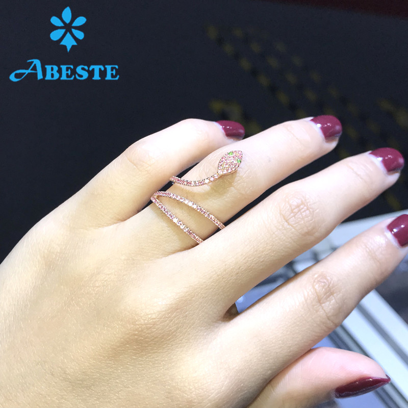 ANI 14K Rose Gold Women Wedding Ring Natural Green/Pink Sapphire Certified Engagement Ring anillo de oro Gemstone Snake Shape