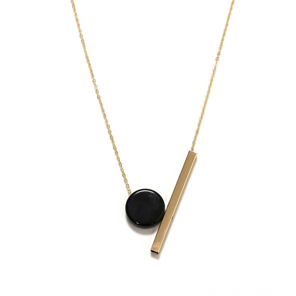 necklaces Ms contracted wind necklace Geometric circular wood combination pendant long necklace
