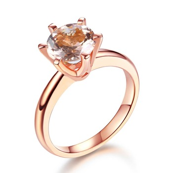 Peacock Star 14K Rose Gold Bridal Wedding Engagement Classic Solitaire Ring 1.2 Ct Peach Morganite 6 Claws Prong
