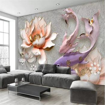 Lotus fish retro fresh 3D TV background wall professional production murals, wallpaper wholesale, custom poster photo