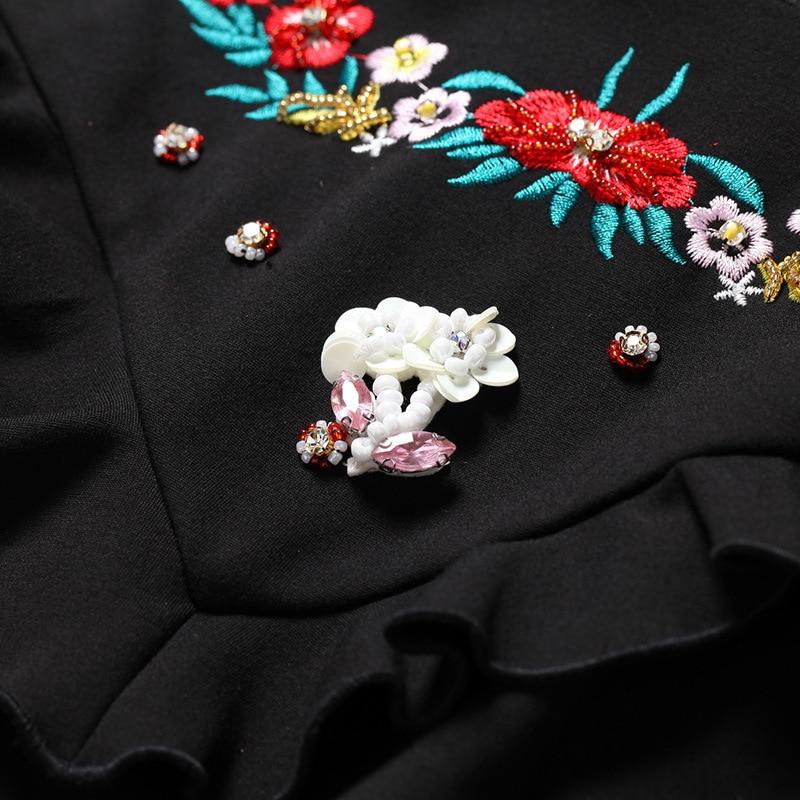 Robe Qualité Flare Vintage Pourpre Longues Robes 5xl Ruches Broderie Piste Haute La 2018 Floral Femmes Plus Taille Style Manches Européen qwXSzfxSF