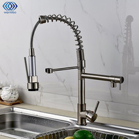 Cold Hot Water Tap Pull Type Drawbench Single Hole Double Handle Kitchen Basin Faucet Swivel Spout
