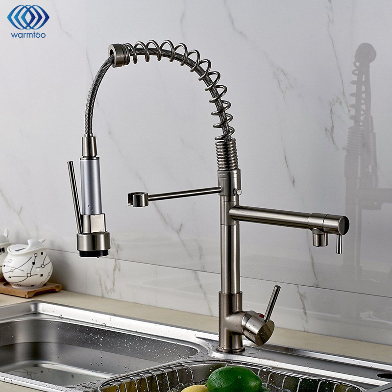 Cold & Hot Water Tap Pull Type Drawbench Single Hole Double Handle Kitchen Basin Faucet Swivel Spout Sink Mixer Taps new pull out sprayer kitchen faucet swivel spout vessel sink mixer tap single handle hole hot and cold