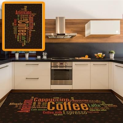 Else Americano Coffee Espresso Latte Beans 3d Pattern Print Non Slip Microfiber Kitchen Modern Decorative Washable Area Rug Mat
