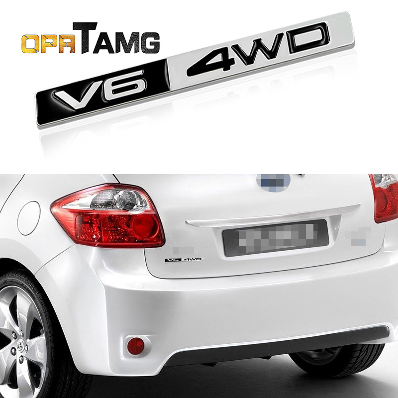 3D Metal V6 4WD Emblem Badge Car-sticker engine displacement Decal Car Styling For Toyota corolla avensis rav4 auris camry yaris