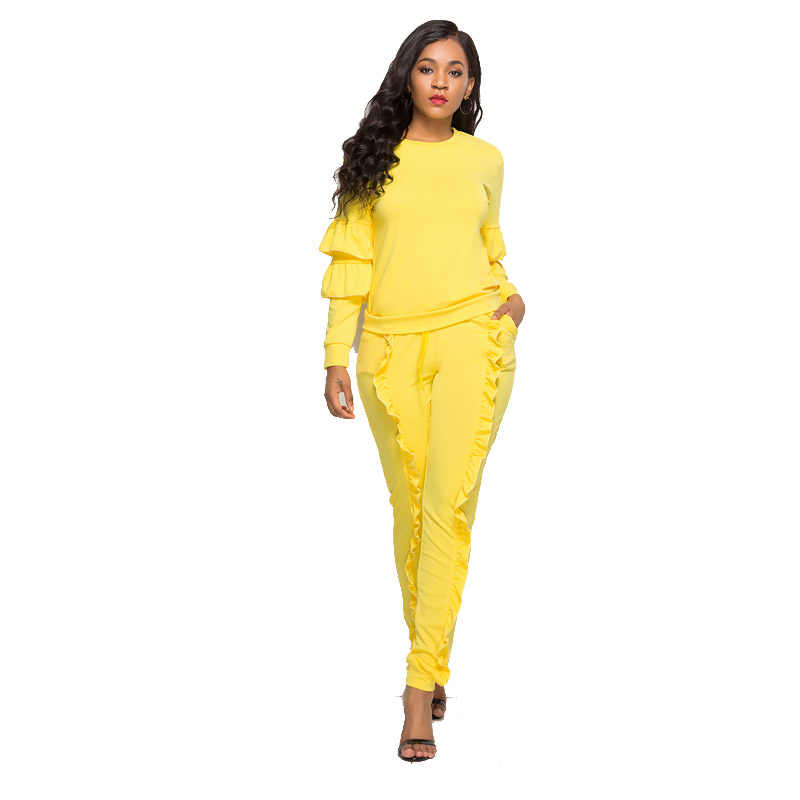 Women Autumn Winter 2018 Party Fashion Long Sleeve Ruffles Two Piece Large  Size Stretch Bodycon Rompers 0713d705e338