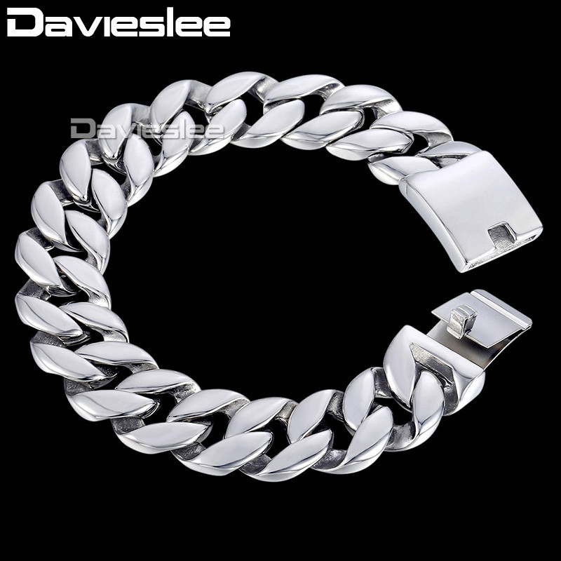 Davieslee Curb Cuban Link Bracelet Mens Bracelet Fashion Jewelry 316L Stainless Steel Silver Tone 18mm DHB471Davieslee Curb Cuban Link Bracelet Mens Bracelet Fashion Jewelry 316L Stainless Steel Silver Tone 18mm DHB471