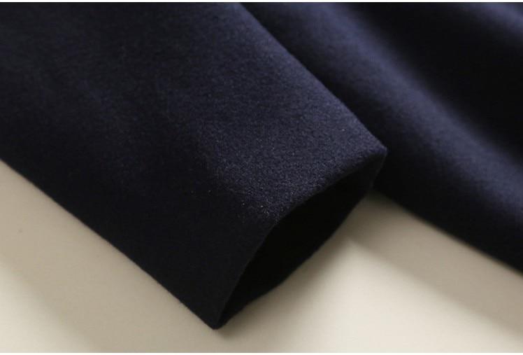Hiver Mode Europen Cachemire Femmes 2018 Navy Bleu Blue Marine Lâche Classique Femelle Imitation Automne Pardessus Laine Survêtement Longues Manteau OqPOItpAw