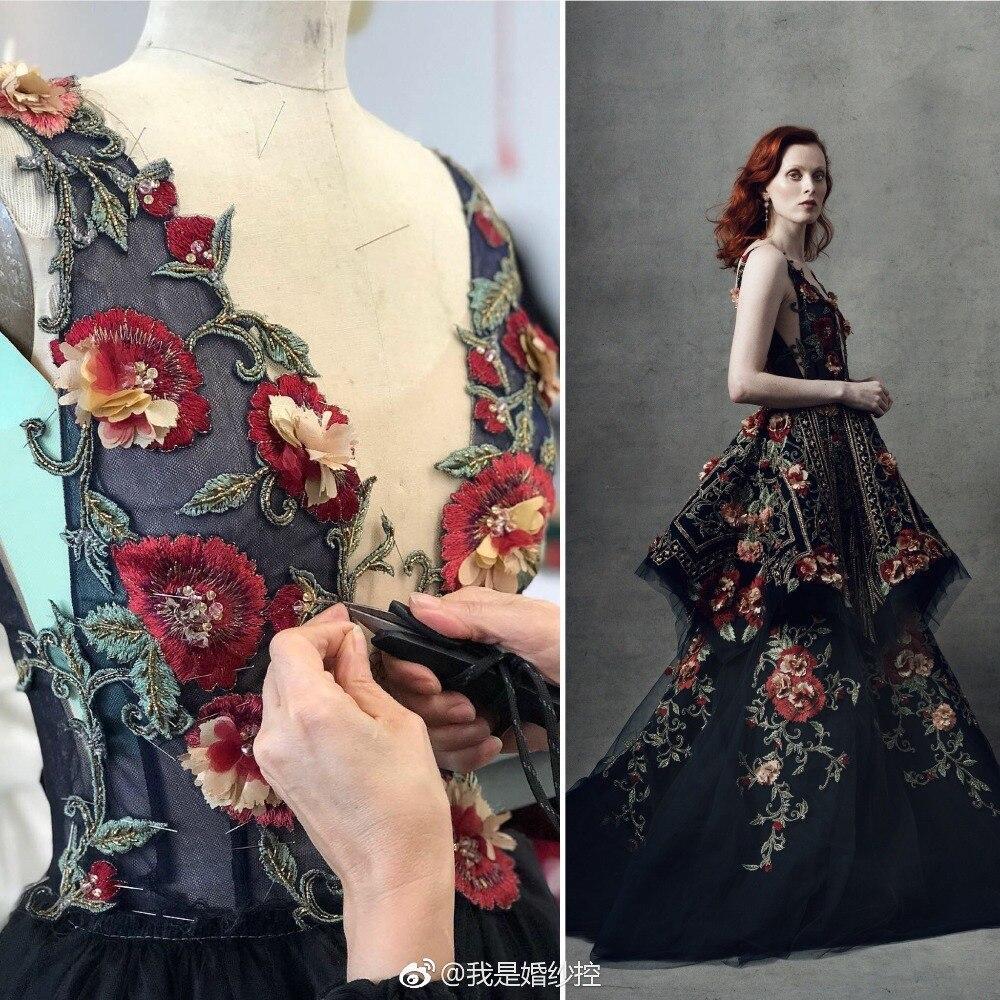 JUSERE Черное длинное вечернее платье 3D Цветочная вышивка v образный вырез с открытой спиной развертки Поезд Формальные Вечерние платья Vestido de