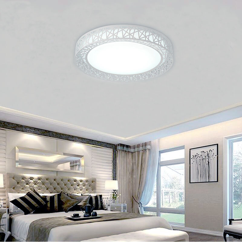 Modern LED ceiling lights for Bedroom living room Iron light fixture Home decorative Black White Round Round Ceiling Light | Circular Ceiling Light | Modern LED Ceiling Lights for Bedroom living room Iron light fixture Home decorative Black/White Round Bird Nest Ceiling Lamp Power 24W