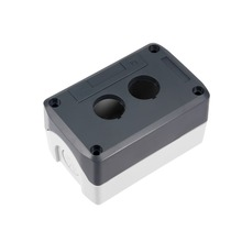 UXCELL 1 PCS Push Button Switch Control Station Box 22mm 2 Hole Waterproof Gray And White For Electronic Projects Power