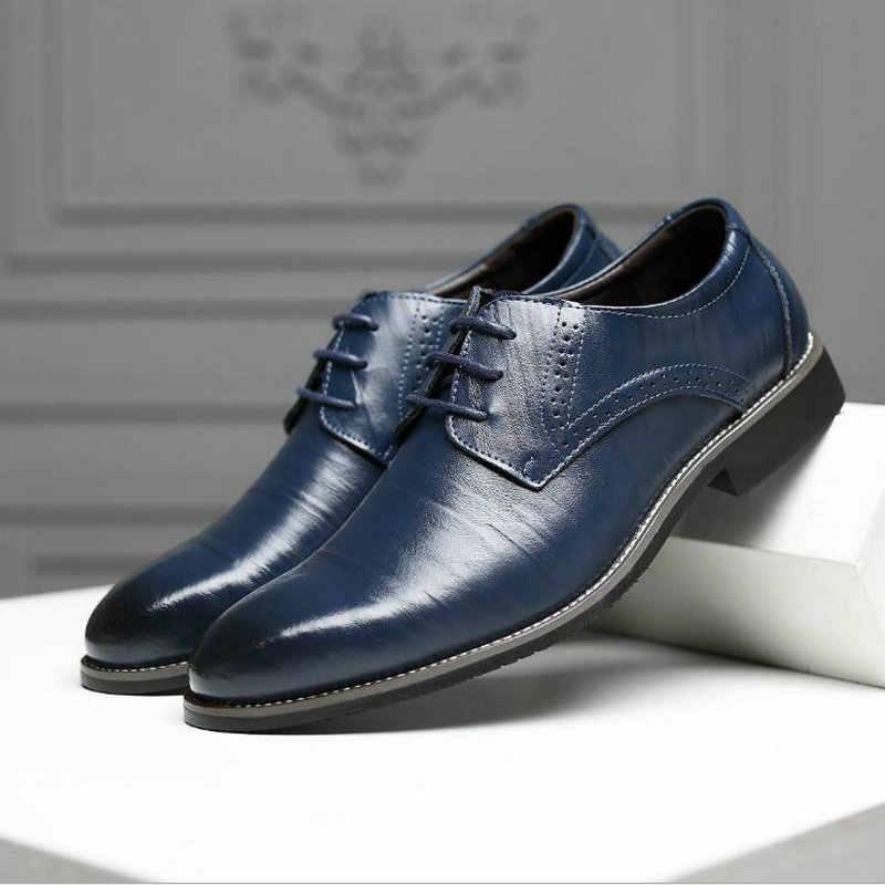 Мужские кожаные туфли; zapatos hombre; офисные Мужские модельные туфли; повседневные свадебные туфли в итальянском стиле; туфли дерби; лоферы; большие размеры LE-64