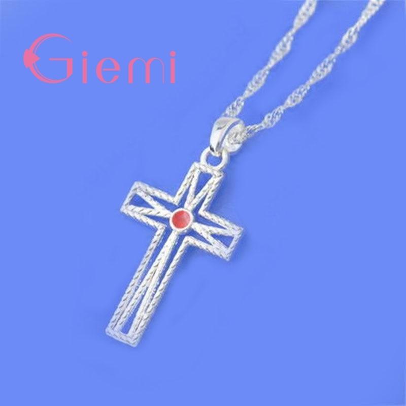 GIEMI Fashion Cross Shape Necklace For Women Men Anniversary Gifts Pretty Pattern 925 Sterling Silver Rhinestone Best Chioce