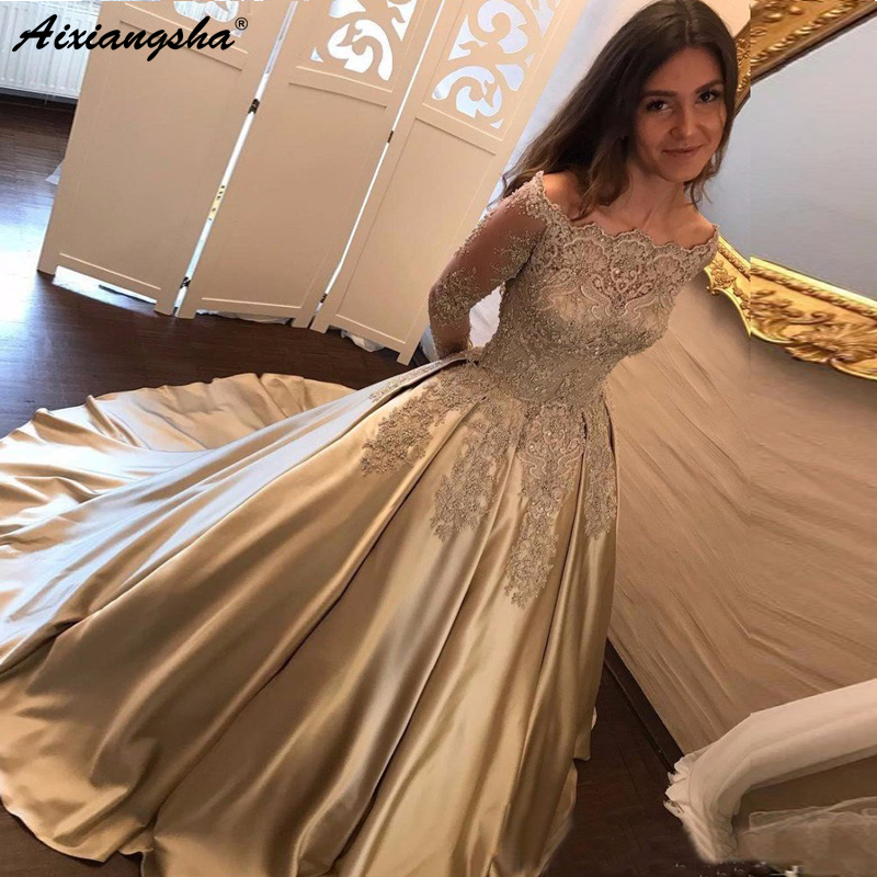 Muslim   Evening     Dresses   2019 Off Shoulder Long Sleeve Gold Lace Beaded Satin Formal   Dress   Saudi Arabic Long Elegant   Evening   Gown