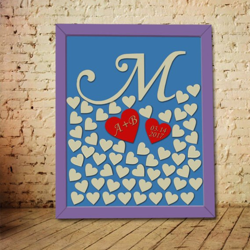 3D Personalized Initial Date Wedding Guest Book Drop Box,Custom Wooden Monogram Wedding Guest Book Ideas,Rustic Guest Book Heart image