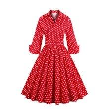 MIXINNI платье в горошек с отворотом три четверти вечернее платье винтажное
