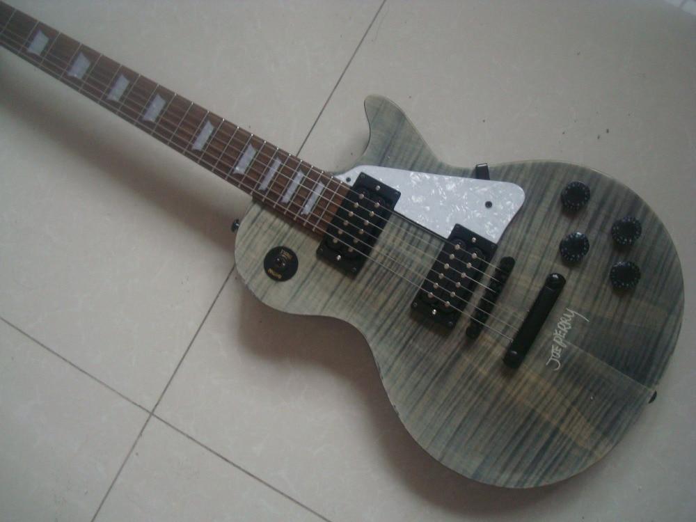 Nouveau Joe Perry standard signature guitare gris one piece cou flamme top zèbre ramassage tiger stripe gris Mohogany corps haute qualité