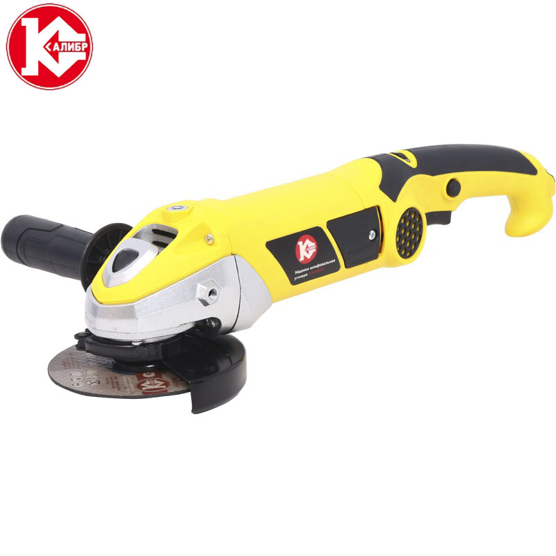 Kalibr MSHU-125/1200EM Electric Angle Grinder Polisher Machine Hand Sander Wheel Grinder Tool, Regulating speed kalibr mshu 125 1055 angle grinder grinding machine metal polisher angular power tool metal and wood cutting sanding polishing