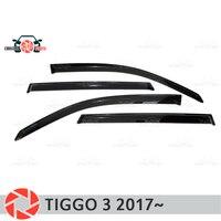 Window deflector for Chery Tiggo 3 2017~ rain deflector dirt protection car styling decoration accessories molding Chromium Styling     -