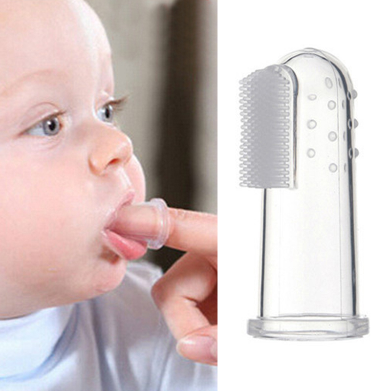 USA Baby Infant Silicone Finger Toothbrush Teether Cleaning Gum Massager Brush