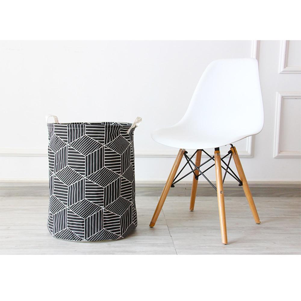 Dirty Hamper Fabric Foldable Geometric Pattern Dirty Clothes Storage Bucket Toy Storage Bin Laundry Basket-1