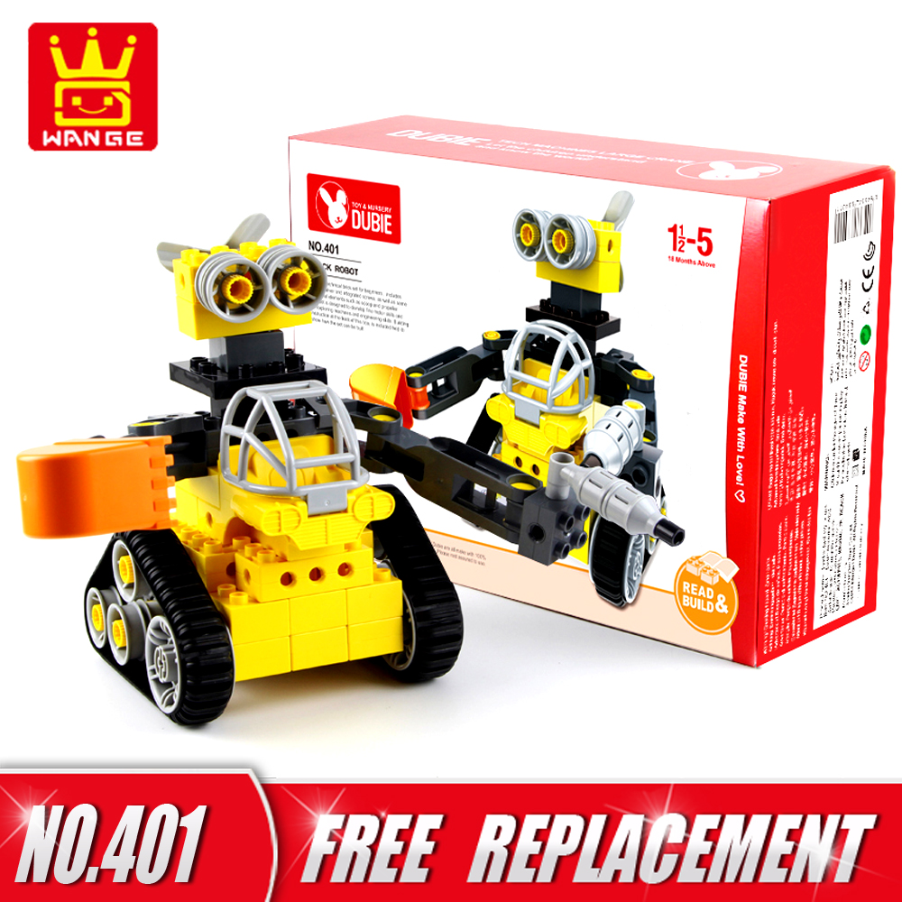 WANGE Big Size Bricks 43pcs DIY Building Blocks Tracked Robot Creative Educational Kids Toys Baby Gifts for 1.5Y Above
