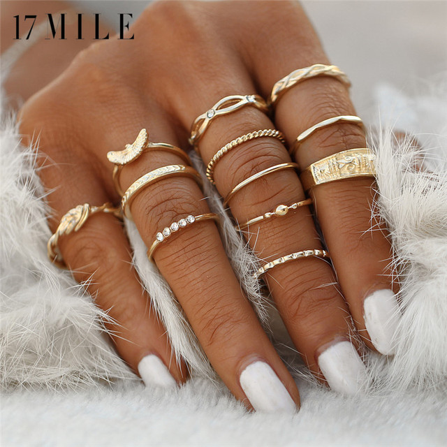 17MILE 12 Design Fashion Gold Color Knuckle Rings Set For Women Vintage Charm Finger Ring Female Party Jewelry New Drop Shipping