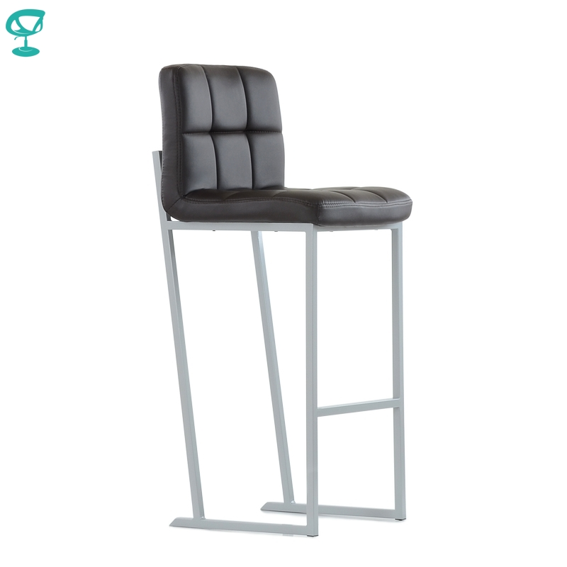 N306GrPUBrown Barneo N-306 PU Leather Kitchen Bar Stool Grey Metal Legs Bar Chair Brown Color Seat Free Shipping In Russia