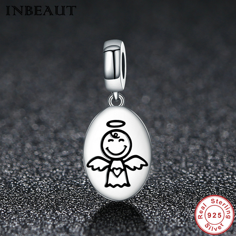 7c1bef1f5 Silver Guardian Angel Charm Beads fit Pandora Bracelet 100% Real 925  Sterling Silver Smiling Fly