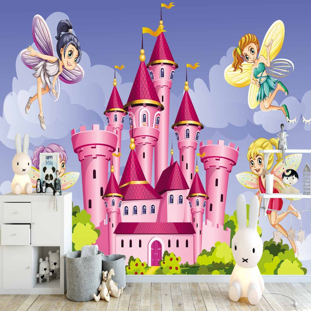 Else Blue Sky Green Floral Pink Castle Fairy 3d Print Cartoon Cleanable Fabric Mural Kids Children Room Background Wallpaper