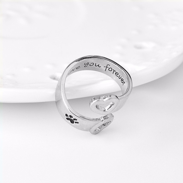 Women Men Pet Paw Hollow Heart Hand Stamped Band Open Ring Memorial