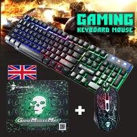 T6 светящаяся клавиатура и Мышь набор для настольного компьютера Игры Механическая Feel Проводная компьютерная игра Gaming Keyboard + Мышь набор мыше...