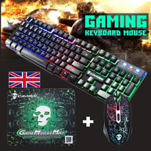 T6 Luminous Keyboard and Mouse Set for Desktop Computer Game Mechanical Feel Wired Computer Game Gaming Keyboard +Mouse Mice Set intelligent wireless keyboard mouse combo set usb 2 4ghz gaming gamer game mice multimedia waterproof for computer pc desktop