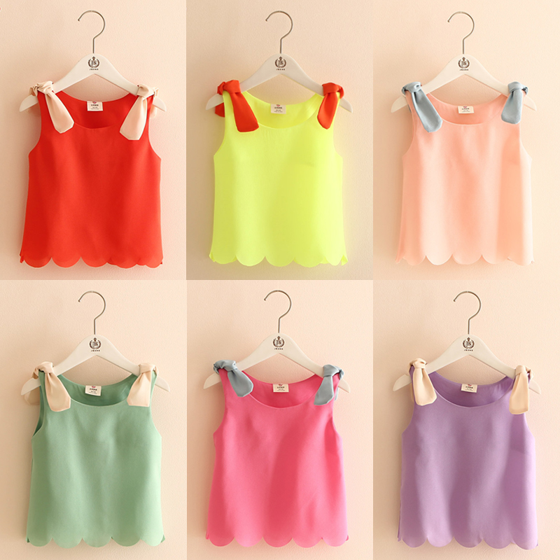 Kids Tops 2018 Summer Candy Color Orange Black White Blue Yellow Pink Purple Sleeveless O-Neck Chiffon T-Shirt Baby Girl