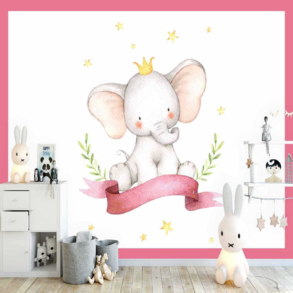 Else Pink Frames Elephant Yellow Moon Stars Girl 3d Print Cartoon Cleanable Fabric Mural Kids Children Room Background Wallpaper