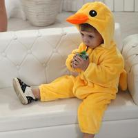 Yellow Duck Baby Clothes Jumpsuit Fleece Plain Baby Rompers 2017 Spring And Autumn For 3 6