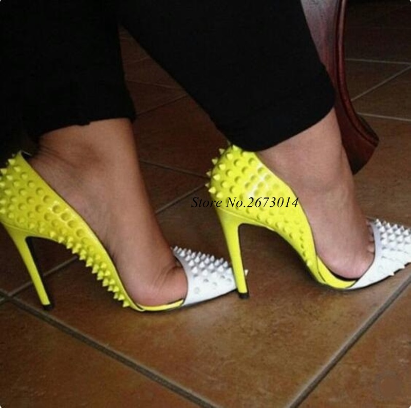 Sexy-White-Yellow-Rivet-Pumps-Women-Shoes-Pointed-toe-Cut-out-Patchwork-Studded-Heels-Women-Shoes (1)