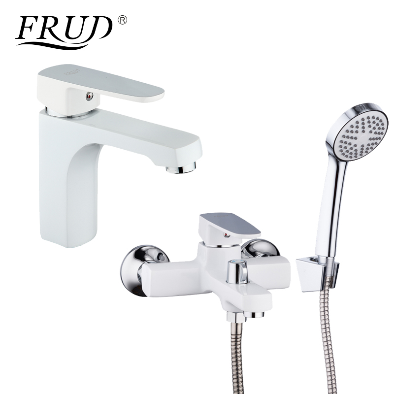 FRUD Classic 1 Set White Spary Painting Bathroom Bathtub Shower Faucet With Basin Tap Mixer Shower Head torneira R10301-2+R32301