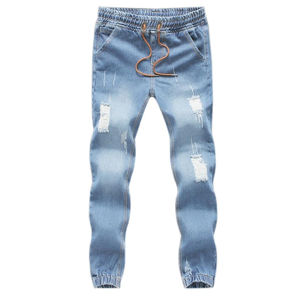 Men Fashion Jeans Drawstring Slim Fit Denim Ankle Length  Casual Pants