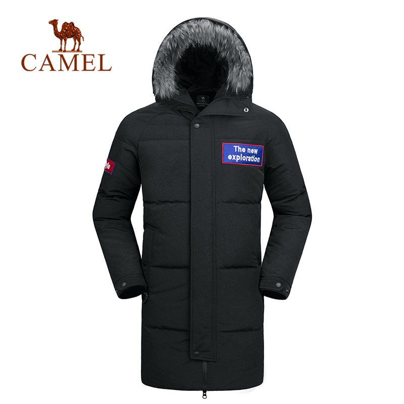 CAMEL 2018 New Outdoor Hiking Winter Jacket Male Parka Coat Long Down Jacket Plus Size Long Hooded Duck Down Coat Jacket Men