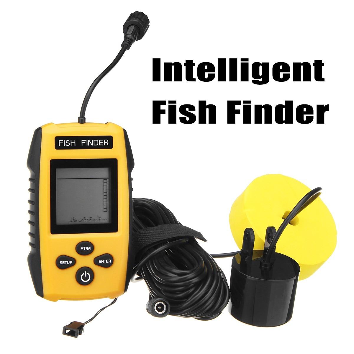 FF1108-1 Portable Sonar Alarm Fish Finder Sounder 200KHz LCD Blue Color Screen 0.6-100M Transducer Sensor Depth Finder Water portable waterproof 200khz sonar lcd fish finder green background light max 100m range 40 degree angle detector cam transducer