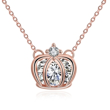 1pcs rose gold plating bird cage costume crown pendant necklace with crystal zircon pendant elegant jewlery