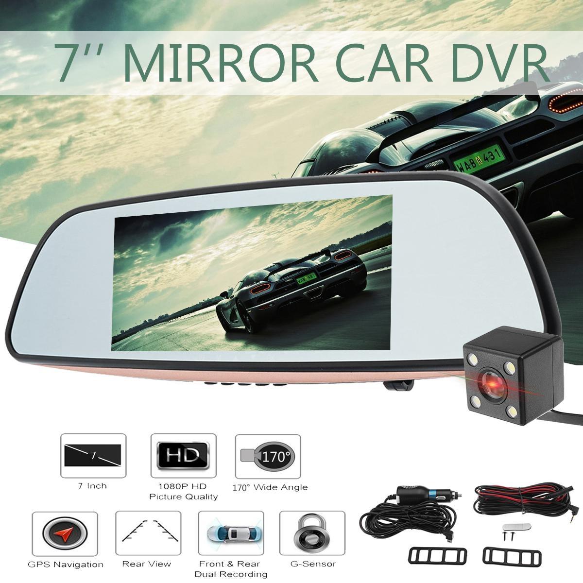 купить 7 Inch Touch Screen Car DVR Dual Lens Camera Rearview Mirror Video Recorder Dash Cam Auto Camera Portable Recorder по цене 3294.48 рублей